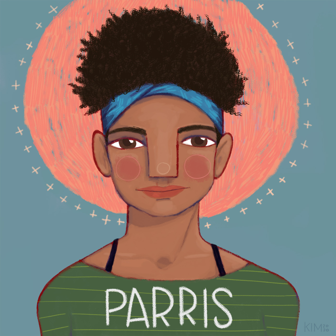 Illustration of Parris, a foster youth in Michigan who is waiting to be adopted.